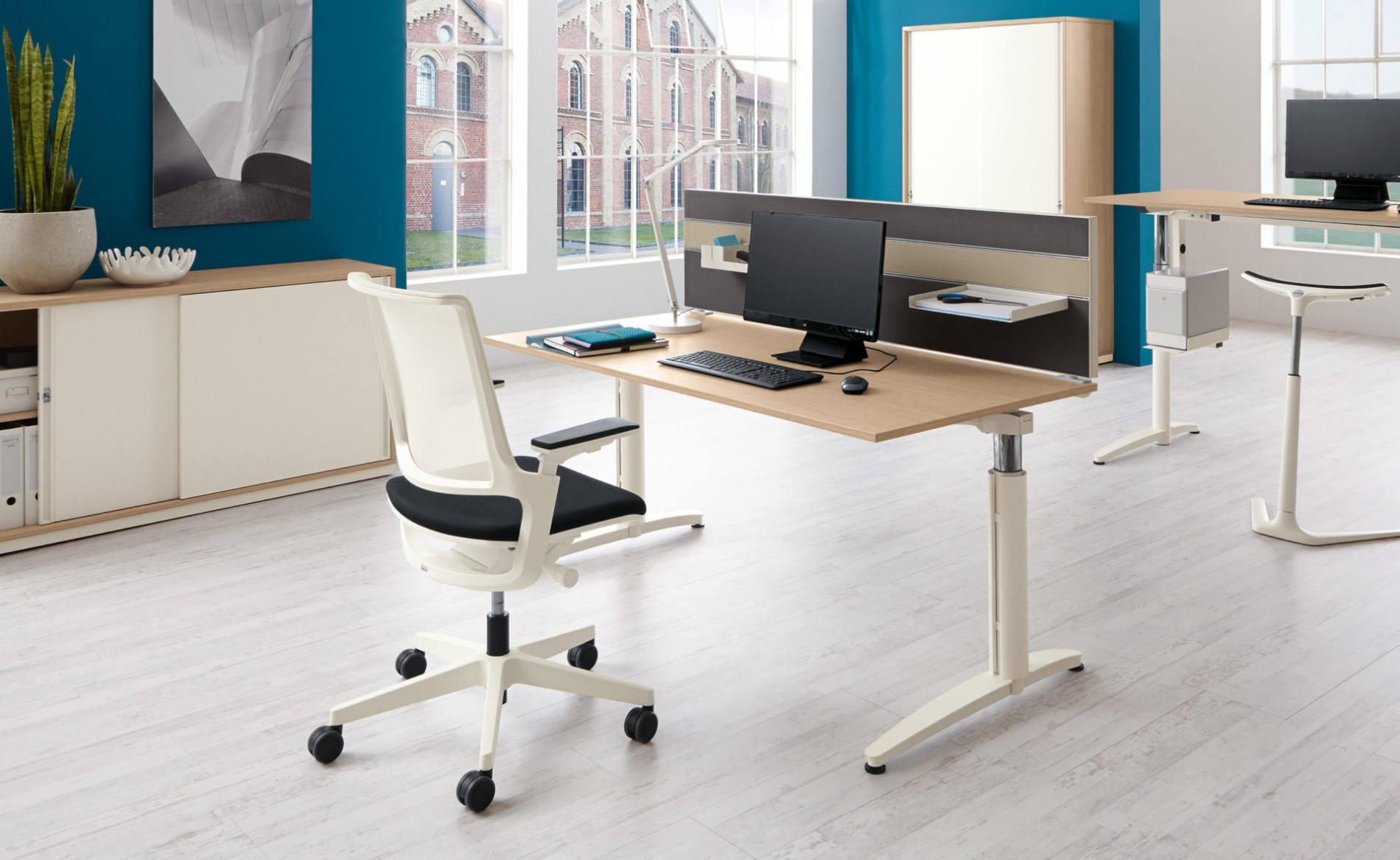 Schreibtisch CALDO, Einzelarbeitsplatz, höheneinstellbar, mit Akustik-Trennwand (Palmberg)