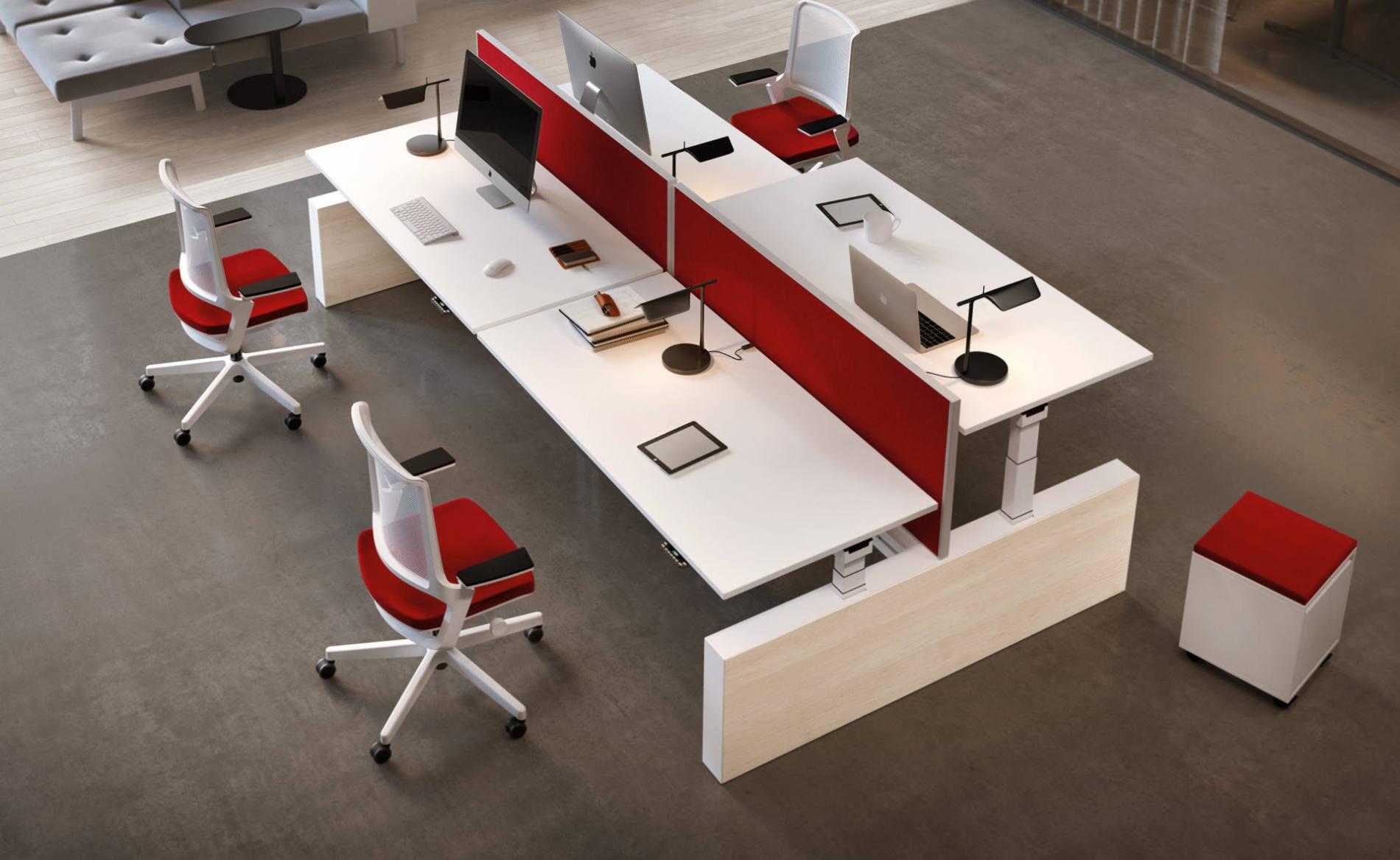 Schreibtisch CREW als Workbench mit Akustik-Trennwand (Palmberg)