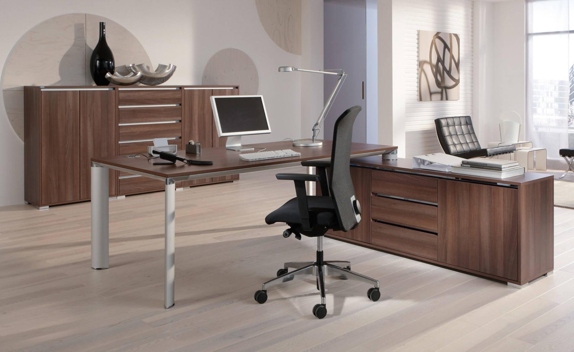 Schreibtisch, Managementbüro, Einzelarbeitsplatz, Chefbüro, Bürotisch, aufgedockt, Sideboard, Palma, Palmberg