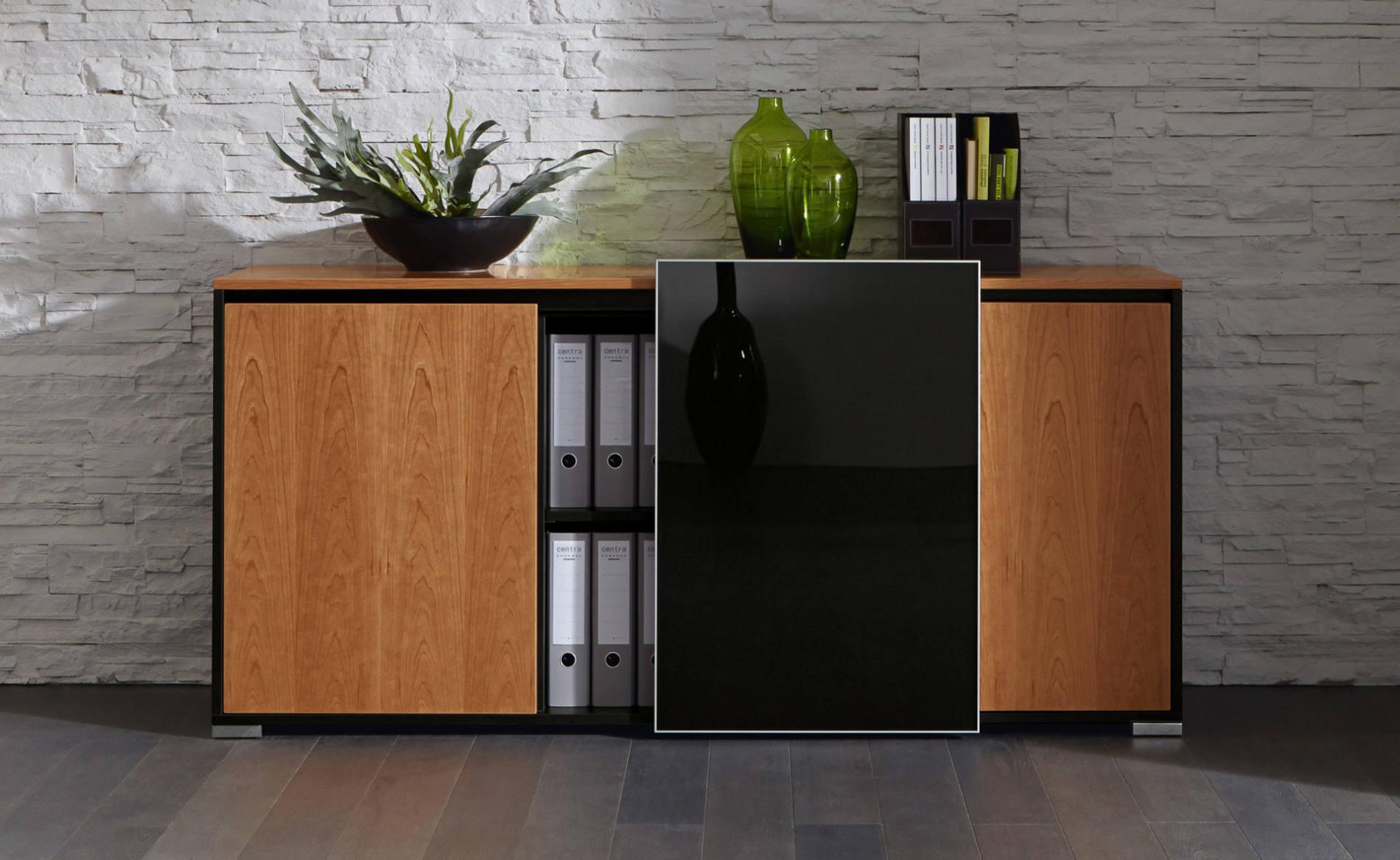Sideboard SELECT in Furnier mit Glasschiebetür (Palmberg)