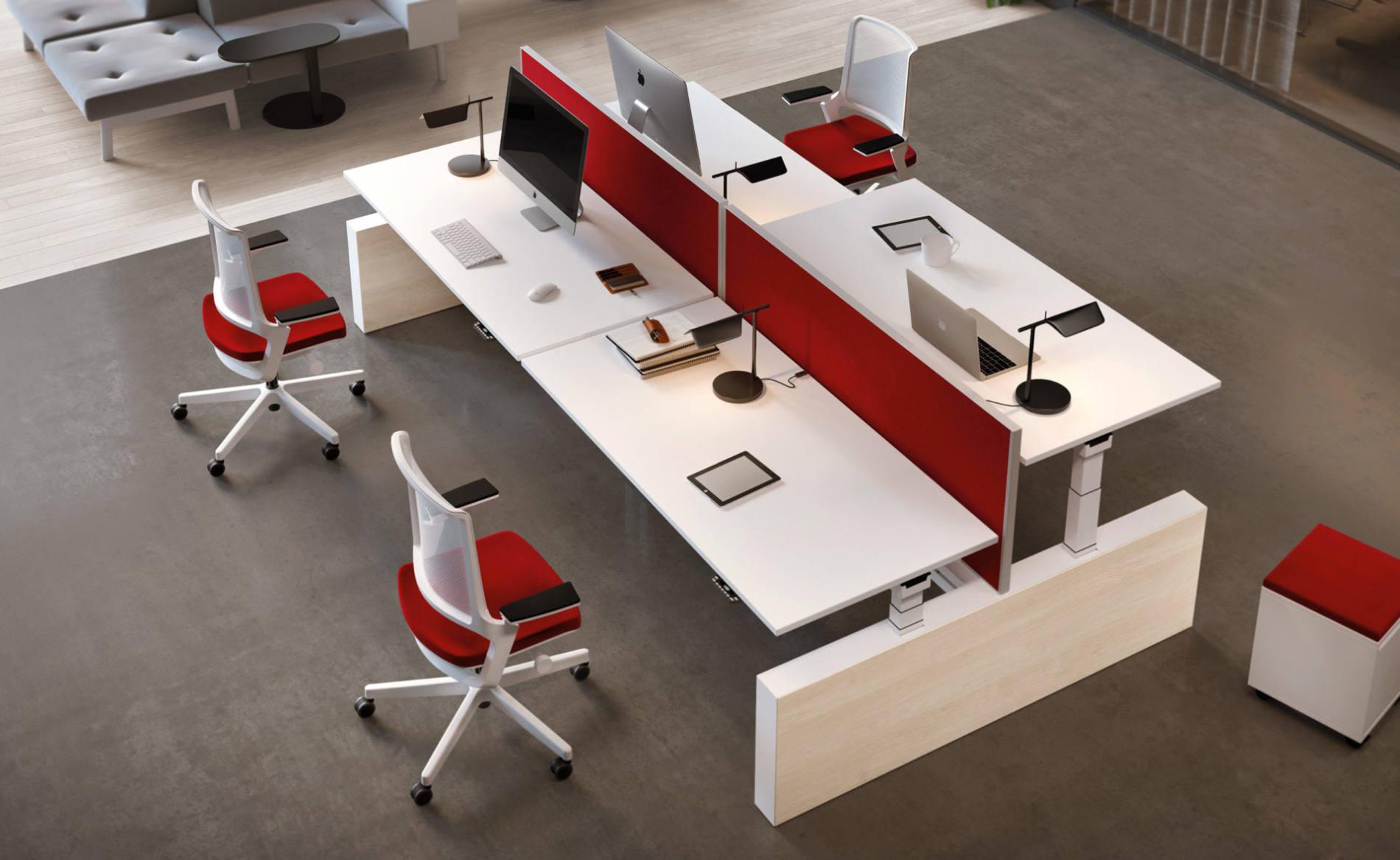 Schreibtisch, Palmberg, Crew, Workbench, Bench, Sitz-Steh-Tisch, elektromotorisch, Akustik, Trennwand