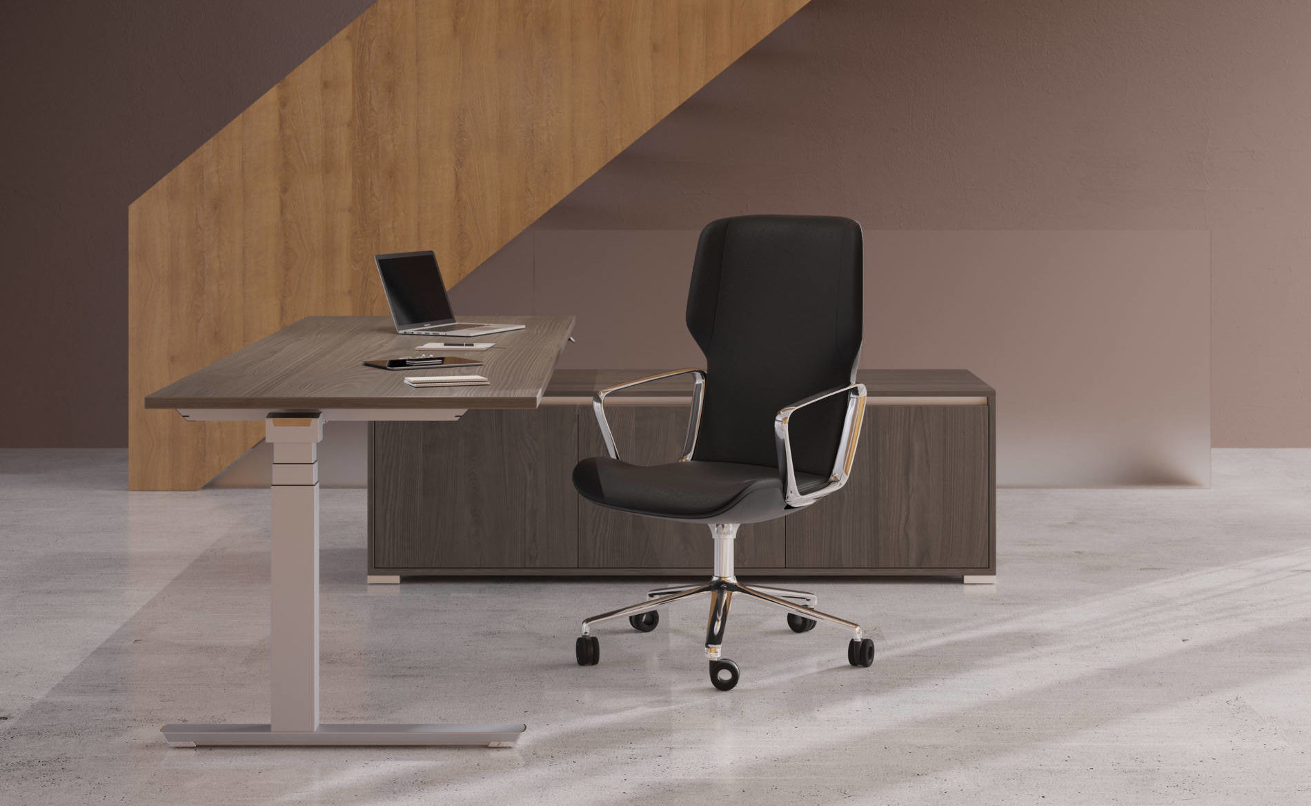 Chefbüro mit Sitz-Steh-Tisch CREW, eingetaucht in Sideboard SELECT (Palmberg)