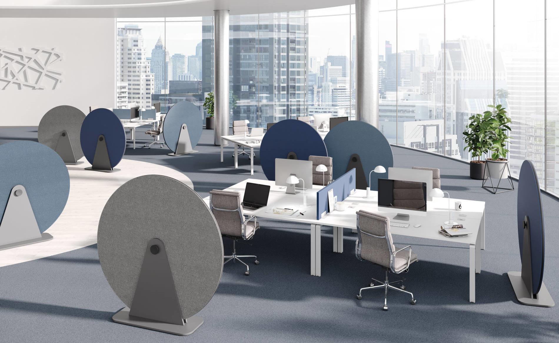 Mobiler, runder Absorber DISC im Großraumbüro (Palmberg)